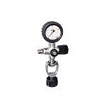 Cross design filling valve with pressure gauge